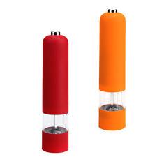 2X Stainless Steel Pepper Salt Mill Grinder Home Kitchen Tool Orange Red