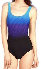 REEBOK One Piece Size 8 Swim/Bathing Suit Build In Cups Slimming  Blue/Black