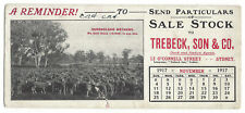 OLD BLOTTER A Reminder! Send Particulars of Sale Stock to Trebeck & Son 1917