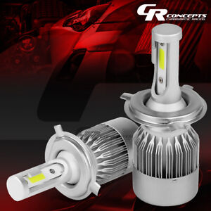 2 PCS H4 6000K REGULAR WHITE LED HEADLIGHTS REPLACE LIGHT BULBS +COOLING FAN