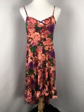 Womens American Rag Sz L Floral High Low Dress Pink Ruffle Boho Strappy