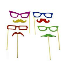 8pc Photobooth Props Glitter Glasses Fake Mustache Halloween Party Favors Kit