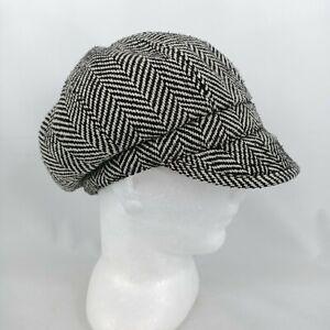 Sportsgirl Chevron Black White Newspaper Boy Train Driver Hat 56cm