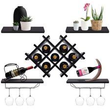 Wall Mount Wine Rack Set Storage Shelves Bottle Holder Wine Glass Hangers Bar