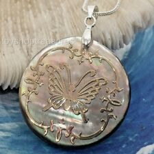Natural Abalone Shell Gold Butterfly Necklace Butterfly Pendant 30mm