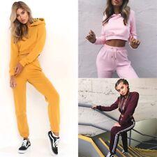 2Pcs Women Crop Top Hoodie + Long Sweatpants Training Sports Clothes Set