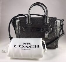 NWT COACH SWAGGER 15 IN PEBBLE LEATHER GUNMETAL BLK STYLE # 54625