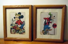 """Vintage Disney MICKEY MOUSE & GOOFY FRAMED PICTURES SET SIZE 9.5"""" X 11.5"""""""