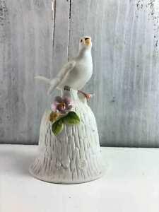 """Vintage Towle White Dove Bird Porcelain Bell 4 1/2"""" Flower Bell"""