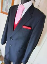 Gieves & Hawkes Savile Row Navy Chalk Stripe Suit UK 42 W 36 L 28 EU 52 Short