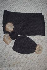 Ladies BLACK CABLE KNIT SCARF & MATCHING HAT Winter FAUX FUR POMS
