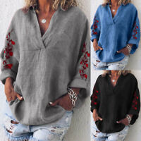 ZANZEA Women Cross V Neck Blouse Embroidered Shirt Batwing Loose Tops Plus Size