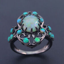 Hot Selling Black Antique Design Fire Green Opal Fine Women's Ring For Gift