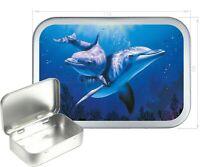 Dolphin Silver Hinged Tobacco Tin,150ml Tobacco Tin,Gift Box, Storage Tin