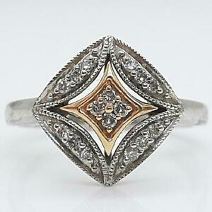 Genuine .34ctw H-SI Diamond Solid 10K Rose Gold 925 Sterling Silver Ring SZ 6.75