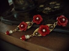 Vintage Red & Gold Rose & Pearl Long Drop Clip Earrings. Very Dolce & Gabbana