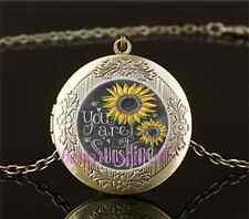 Vintage You Are My Sunshine Cabochon Glass Brass Locket Pendant Necklace