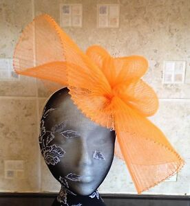 orange crin fascinator headband headpiece wedding party piece race ascot bridal