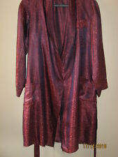 "Silk Brocade Unisex 3/4 Jacquet Royal Robe Old Red & Blue Vintage 90"" Length"
