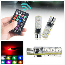 2 X DC12V RGB T10 5050 6LED Width Clearance Lights Tail Side Lamp+Remote Control