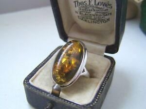 GORGEOUS 925 SOLID STERLING SILVER GREEN AMBER CABOCHON RING SIZE L 6 UNUSUAL