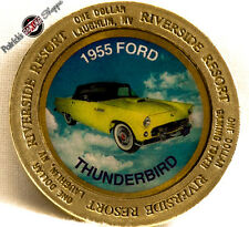 "$1 BRASS SLOT COLOR TOKEN RIVERSIDE CASINO ""1955 THUNDERBIRD"" 1996 NCM LAUGHLIN"
