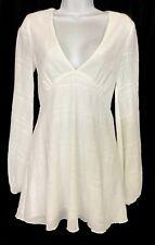 Tularosa Dress White Short Flare Long Puff Sleeve Size Xs