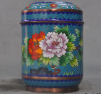 """5"""" Chinese bronze Cloisonne Enamel peony flower Tea caddy Canisters box boxes"""