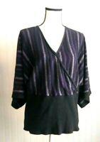 Lane Bryant Women's Top Sz 22/24 Purple Multicolor Stripe Kimono 3/4 Sleeves