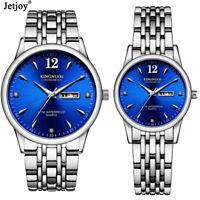 Quartz Couple Watch Steel Band Double Calendar Luminous Waterproof Wrist Watch