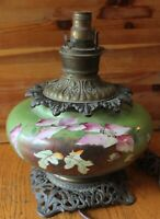 Antique Parlor lamp P&A Green glass floral hand painted Oil lantern Brass Bronze