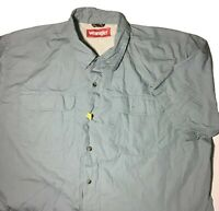 Wrangler XL Mens Shirt Button Front Short Sleeve Blue Front Chest Pockets