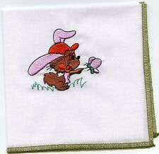 Bunny Embroidered  Child Hankie  #8