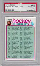 1975 - 76 Topps #267 NHL HOCKEY CHECKLIST #221 - 330 PSA 10 GEM MINT  TOUGH!