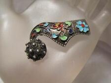 Vintage~Antique Etruscan Enamel 999Fine Sterling Silver Brooch Pin