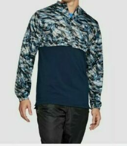 NEW Under Armour Men Sportstyle Fitted Half-Zip Hooded 1311107-408 Blue Camo