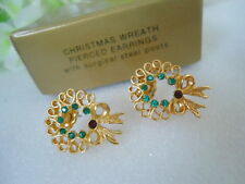 Vintage US AVON Christmas Wreath Earrings Jewelry 1997 Collection
