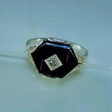 Wunderschöneer Art Déco Ring mit Onyx und Diamant , Silber 835
