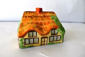 """Vintage Cottage Ware Cheese Dish English Thatched Butter Dish Cover Pottery """"k2"""