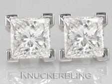 0.50ct F SI Princess Cut Diamond Solitaire Studs in 18ct White Gold