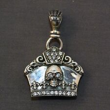 925 Sterling Silver Skull Crown Clear CZ Stones Royalty Tiara Chunky Pendant