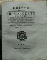 1791 PARMA ADEODATO TURCHI: EDITTO AI PARMENSI SU PROCESSIONE DA FARSI IN CITTA'
