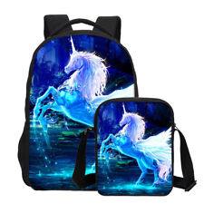 2PCS Unicorn Print Backpack Boys Girls Bookbag Large Rucksack School Bags