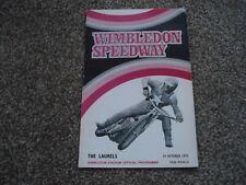 * Wimbledon: The Laurels 19/10/72 speedway programme