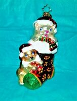 """Signed Christopher Radko ORNAMENT - Kitty & Puppy In A Stocking - 6.5"""""""