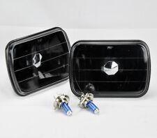 "7x6"" Halogen Semi Sealed H4 Black Glass Headlight Conversion w/ Bulbs Chevrolet"