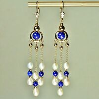 14k solid yell. gold natural Blue Lapis Lazuli, White Pearl earrings leverback