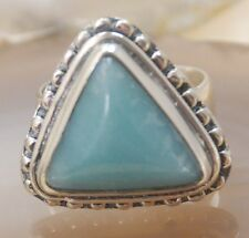Triangle Larimar Gemstone Silver Ring Jewelry Size 9 H467