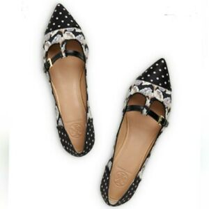 TORY BURCH Sloane Floral & Polka dot Mary Jane Flats Shoes 7.5 NWOT No Box