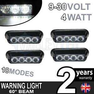 4 x 4 LED Warning Beacon WHITE Module Recovery Strobe 12v or 24v HGV Van Hazard